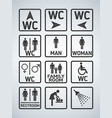 wc toilet door plate icons set men and women wc vector image