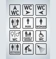 wc toilet door plate icons set men and women wc vector image vector image