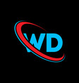 wd w d letter logo design initial letter wd vector image vector image