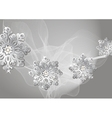 Winter silver background with snowflakes and fog vector image