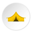 yellow tourist tent icon circle vector image vector image