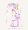 young couple kissing in the rain under umbrella vector image