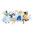 young cute happy dancing girls characters female vector image