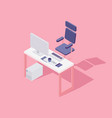 office workspace computer chair flat isometric vector image