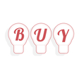 Concept of buy word combined with light bulb vector image