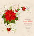 lovely christmas poinsettia arrangement on grunge vector image