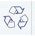 recycle logo concept navy line icon on vector image