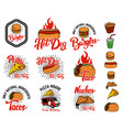 set of hand drawn fast food emblems pizza hot dog vector image