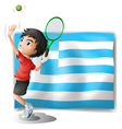 A tennis player and the flag of Greece vector image vector image