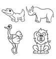 animals set krokodile lion ostrich rhinoceros vector image