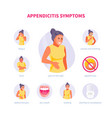 appendicitis symptoms vector image vector image