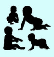 babies action and training silhouette vector image vector image