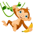 Baby monkey on a tree vector | Price: 1 Credit (USD $1)