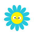 blue daisy chamomile with smiling face head cute vector image