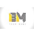 bm black lines letter logo creative line letters vector image vector image