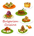 bulgarian cuisine icon of meat and vegetable dish vector image vector image