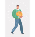 businessman carries a huge gold coin vector image