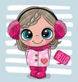 cartoon girl in a coat and fur headphones vector image vector image