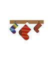 christmas gift socks icon flat style vector image vector image