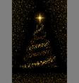 christmas tree on black background gold christmas vector image