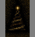 christmas tree on black background gold vector image vector image