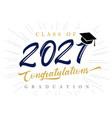class 2021 congratulations graduation card vector image vector image