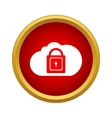 Cloud with closed padlock icon in simple style vector image vector image