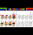 coloring book cupcake with candles and fruits vector image