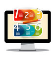 computer screen with creative six step infographic vector image vector image