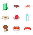 cooked soup icons set cartoon style vector image vector image