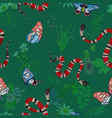 coral snakes and butterflies seamless pattern vector image vector image