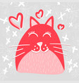 cute cat in love flat character vector image