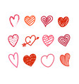 different valentines day hand color drawn hearts vector image vector image