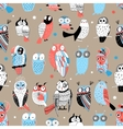 Exotic pattern with different owls vector image vector image