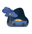 flat night city landscape car on road vector image vector image