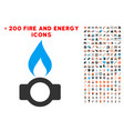 gas flame icon with bonus power set vector image vector image