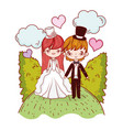 girl and boy couple with clouds and bushes vector image