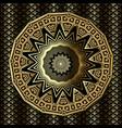 gold 3d greek mandala pattern ornamental vector image vector image