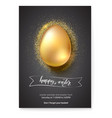 golden egg on glittering dust for celebration of vector image