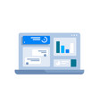 graphs on laptop screen vector image vector image