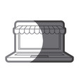 grayscale silhouette of laptop computer online vector image