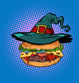 halloween burger fast food holiday vector image vector image
