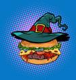 halloween burger fast food holiday vector image