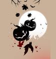 halloween pumpkins and bats vector image vector image