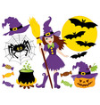 Halloween Witch Set vector image