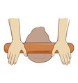 hand rolling dough with wooden roller vector image vector image