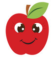happy red apple on white background vector image vector image