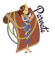 hindu gods parvati invitation cards dawali holiday vector image