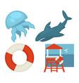 Lifeguard or sea guard icons shark rescuer