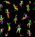 mardi gras seamless pattern with funny dancing vector image vector image